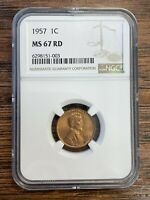 1957 LINCOLN WHEAT CENT NGC MS67 RD