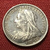 BETTER 1901 GREAT BRITAIN 3 PENCE QUEEN VICTORIA WORLD SILVER COIN
