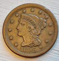 1855 LARGE CENT UPRIGHT 5S HIGH GRADE LOW MINTAGE DATE     B