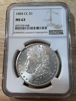 1884-CC MORGAN SILVER DOLLAR NGC MINT STATE 63   COIN, SHIPS FREE