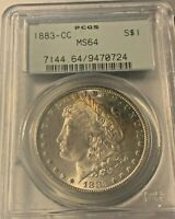 1883 CC MORGAN $1 SILVER DOLLAR PCGS MINT STATE 64 OGH TONED