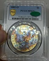 1883-O MORGAN DOLLAR. INCREDIBLE END OF ROLL RAINBOW TONED. PCGS MINT STATE 63 CAC.
