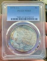 1878-CC MORGAN DOLLAR TONER PCGS MINT STATE 63   GREAT STRIKE GREAT COLOR EOR TONED
