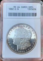 1882-O MORGAN SILVER DOLLAR CAMEO DMPL MINT STATE 64DMPL CAM   OLD ANACS HOLDER