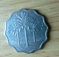 IRAQ COINS 1974  5 FILS STAINLESS STEEL COIN   PALM TREES