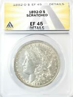 1892-O MORGAN DOLLAR SILVER S$1 EXTRA FINE ANACS EF45 DETAILS SCRATCHED