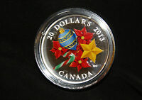 2013 1 OZ. FINE SILVER COIN HOLIDAY SEASON WITH VENETIAN GLASS CANDY CANE