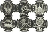 USSR RUSSIA 1977 1980 SET 5 PLATINUM 150 ROUBLES MOSCOW OLYMPICS NGC PF69