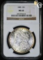 1885 MORGAN SILVER DOLLAR NGC MINT STATE 63 VAM-9C CLASHED DIES SUPER CD ELITE VARIETY R5