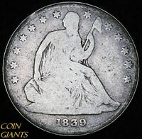 1839 50C SEATED LIBERTY HALF DOLLAR W/ DRAPERY FIRST YEAR TYPE COIN PHILADELPHIA