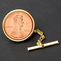 US 1993 LINCOLN MEMORIAL SMALL CENT BU COIN GOLD PLATED TIE TACK TAC NEW