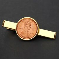 US 1993 LINCOLN MEMORIAL SMALL CENT BU COIN GOLD PLATED TIE CLIP CLASP NEW