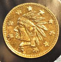 1849 DATED GOLD CHARM TOKEN INDIAN HEAD & CALIFORNIA ARMS CH.BU!