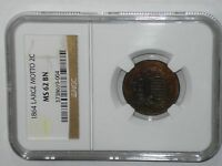 NGC MINT STATE 62 BN 1864 LARGE MOTTO TWO CENT PIECE