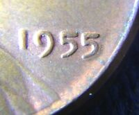 1955 LINCOLN WHEATL CENT - POOR MAN'S DOUBLE DIE   -