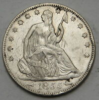 1855 WITH ARROWS SEATED LIBERTY HALF DOLLAR UNGRADED
