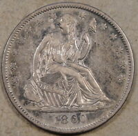 1860 O SEATED LIBERTY HALF BORDERLINE AU PIN SCRATCH IN RT. OBV. FIELD