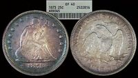 1873 LIBERTY SEATED QUARTER / ARROWS / TONED / FIRST YEAR TYPE COIN / ANACS EF40