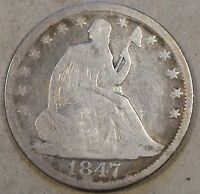 1847 O SEATED LIBERTY HALF FULL RIM COIN CLEANED OR DIPPED LONG AGO