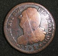 1791 A FRANCE LOUIS XVI 2 SOLS REVOLUTION ISSUE CANADA MAKE AN OFFER!