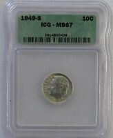 1949 S  ICG  MS67  ROOSEVELT SILVER DIME   NO TONING