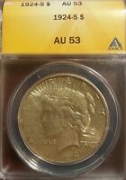 1924 S PEACE SILVER DOLLAR $1 AU 53 ANACS   BETTER DATE
