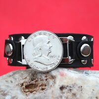 1961 US FRANKLIN 90 SILVER HALF DOLLAR COIN STUDDED LEATHER BRACELET NEW