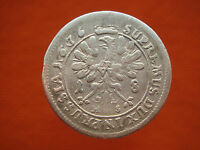 OLD MADIEVAL PRUSIA  1676 OVER PRESSED DATE SILVER 18 GROSH GROSS COIN    307