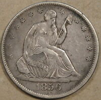 1856 SEATED LIBERTY HALF LIGHT MED GREY STRONG XF COIN NOT PERFECT