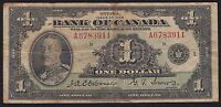 1935 BANK OF CANADA $1   CANADA'S FIRST BANK NOTE SERIES A