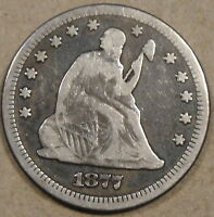 1877 LIBERTY SEATED QUARTER STRONG LIBERTY F