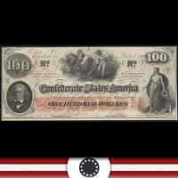 T 41 1862 $100 'HOER NOTE' CONFEDERATE CURRENCY CIVIL WAR PAPER MONEY