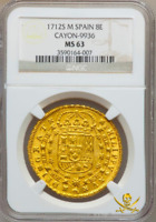 SPAIN 1712 GOLD 8 ESCUDOS FINEST KNOWN DOUBLOON COIN TREASURE SHIPWRECK PIRATE