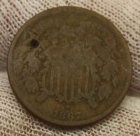 1867 TWO CENT PIECE X68 HOLED UNITED STATES HISTORICAL 2 C COPPER TYPE COIN