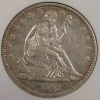 1842 MEDIUM DATE LIBERTY SEATED HALF ANACS XF 45 OLD SMALL HOLDER