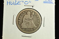 1854 O ARROWS SEATED LIBERTY QUARTER DOLLAR 25C VG HUGE