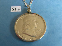 NECKLACE PENDANT BEZEL W/ 1961 D FRANKLIN 90 SILVER HALF DOLLAR 50C  GREAT GIFT