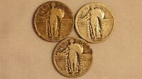 1927-P STANDING LIBERTY SILVER QUARTERS 3 COIN SET- 25C
