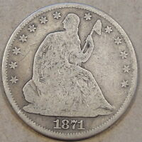 1871 LIBERTY SEATED HALF DOLLAR DECENT TOUGHER TO FIND FULL RIM COIN
