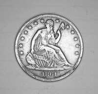 1861 S SEATED LIBERTY HALF DOLLAR 50C