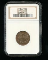 1866-P TWO CENT PIECE 2C NGC PROOF PF 65 BROWN BN  LOW MINTAGE