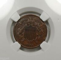 1865 COPPER 2 CENT NGC AU53 BN RE-PUNCHED DATE, ROTATED REVERSE