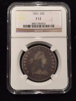 1803 DRAPED BUST HALF DOLLAR NGC F12 FINE OVERTON O VARIETY SILVER SMALL 3 LARGE