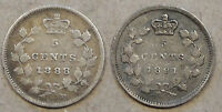CANADA 1888  91 FIVE CENT SILVERS DECENT LOW MIDGRADE COINS