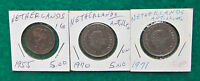 COINS FROM THE NETHERLANDS LOT OF 5   1 G 1955 1970 1971 AND 21/2 CENTS