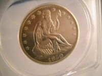 1850 O SEATED LIBERTY 50C ANACS AU 55 CLEANED  LUSTER PRICE REDUCED