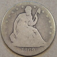 1869 S LIBERTY SEATED HALF DOLLAR ORIGINAL AG WITH AND OLD SCRATCH AT 10:30 OBV