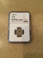 1881 5 CENTS  PF 64. NGC CERTIFIED