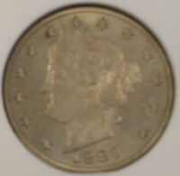 1883 W/CENTS V NICKEL OLD ANACS MS 63 NICE POSSIBLE UPGRADE