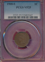 1908 S INDIAN HEAD CENT PCGS CERTIFIED VF 25   BETTER DATE